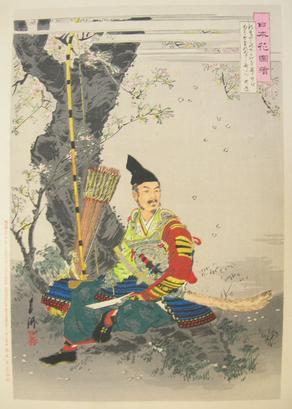 尾形月耕 『日本花図』武者