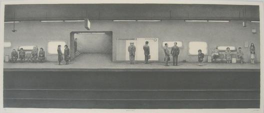 相笠昌義 地下鉄を待つ人